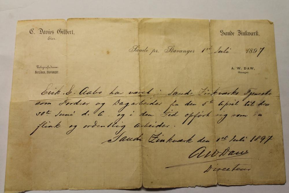 Arbeidsattest fra sinkgruvene i Sauda fra 1.juli 1897